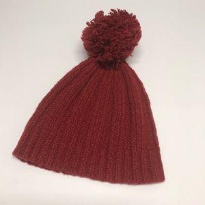 Unisex Adult Red Knit Watch Cap Boggan Red Tassel